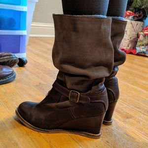 J Shoes Shoes - J Shoes Brown Leather Irresistible Wedge Boot